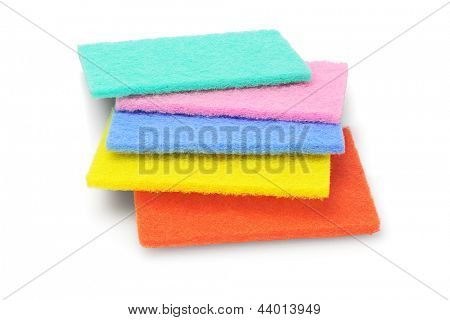 Colorful Kitchen Scourers on White Background