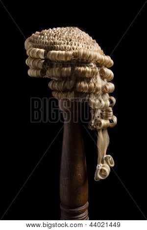 Side view of an antique barrister's wig made of horsehair