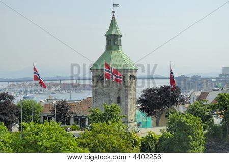 Norway Tower And Flags