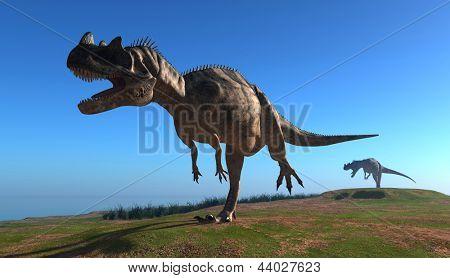 Giant dinosaur on a background blue sky
