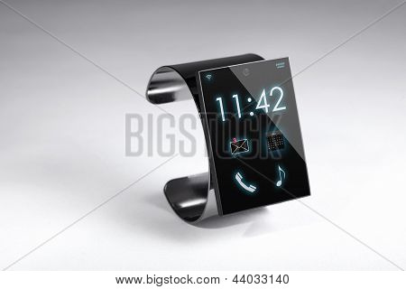 Modern Internet Smart Watch On A Grey Background