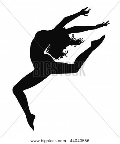 girl in motion on a white background poster