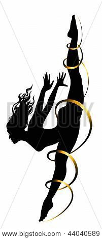 Girl in motion twine with ribbon on a white background poster