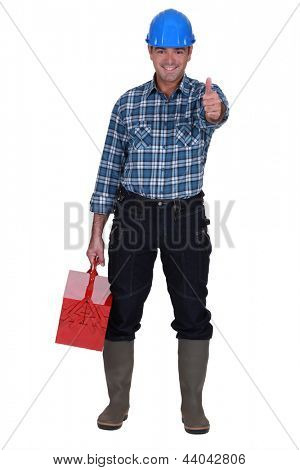 Worker with thumbs-up