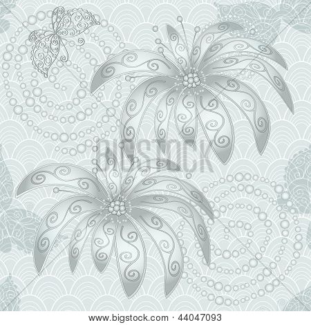 Silvery vintage seamless pattern with flowers butterflies and concentric circles (vector) poster