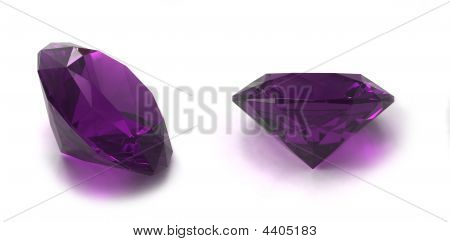 Amethyst gems isolated on white background. Image for catalogues gem sites and other... poster