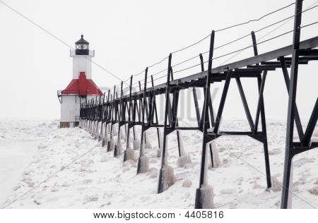 Catwalk Leading To St. Joseph North Pierhead Lighthouse