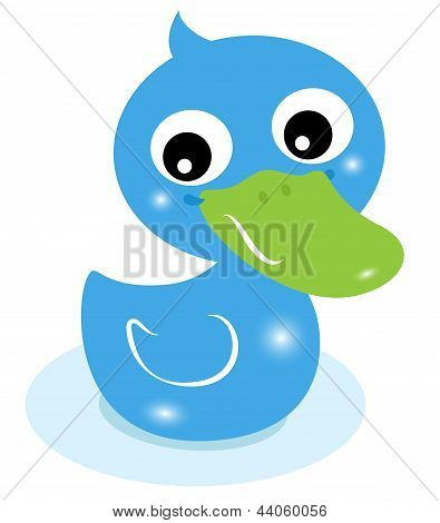 Cute Little Blue Rubber Duck Isolated On White