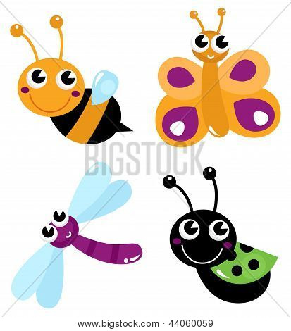 Cute Little Cartoon Bugs Isolated On White
