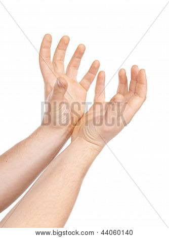 Hand gestures on a white background