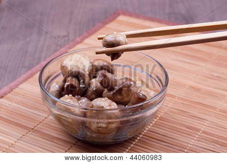 Fried Mushroom In A Chopstick