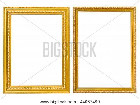 Picture Frame Gold Style On Isolated