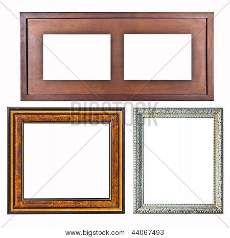 Old Picture Frame Wood Style On Isolated