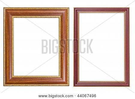Picture Frame Wood And Gold Style On Isolated