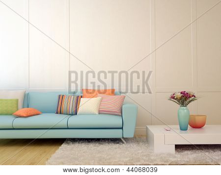 Blue Sofa With Colorful Pillows And A White Coffee Table