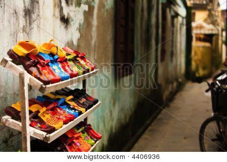 Women's Shoes In A  Street Market