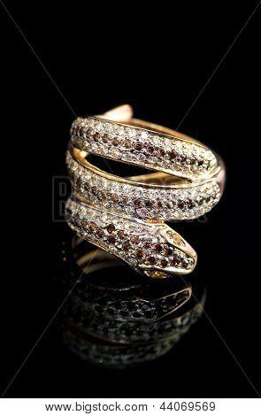 Golden Jewelry Ring - Serpent