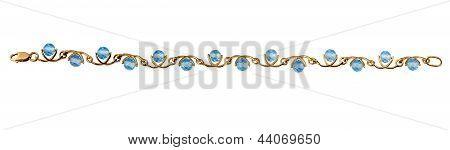 Golden Jewelry Bracelet With Blue Topaz