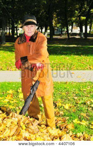 Woman Near Heap Leaves