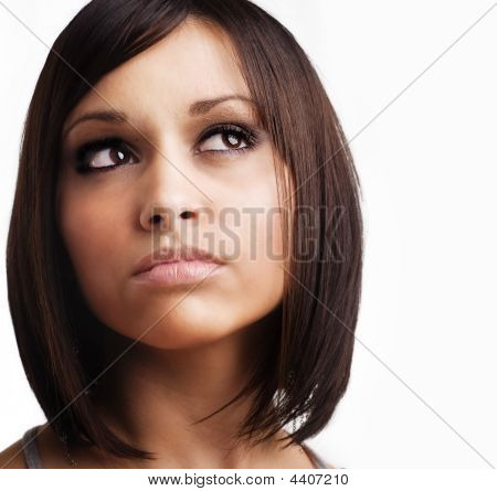 Brunette woman with new hair style