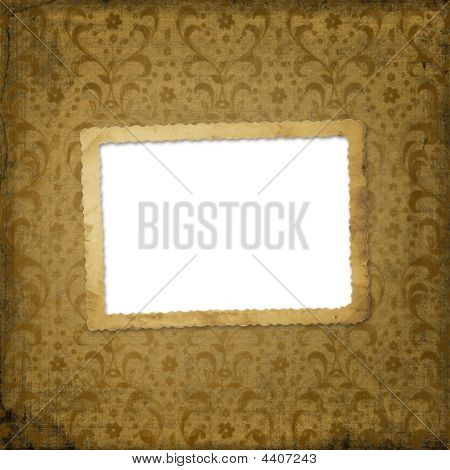 Grunge frame on the ancient ornament background poster
