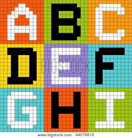 8-bit Pixel Letters Set 1: ABC DEF GHI