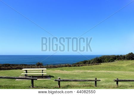 Picnic Table Overlooking The Ocean
