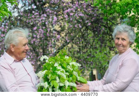Happiness Couple With Bouquet