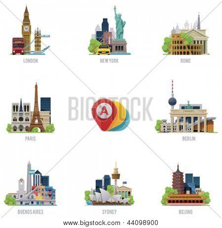 Conjunto de iconos de Vector viajes destinos