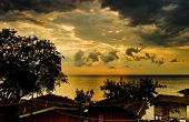 Sunrise with dramatic sky above Malawi lake poster