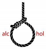 Hangman's noose with protest against alcohol on a white background poster