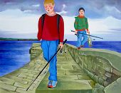 boys returning from fishing trip. One has caught some fish, the other has not. poster