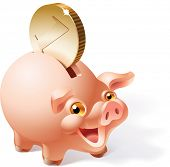 Big golden coin is dropping into a smiley pink piggy bank. Raster image. Find editable version in my portfolio. poster