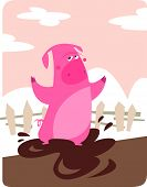 A cartoon pink pig in the farm playing with mud poster