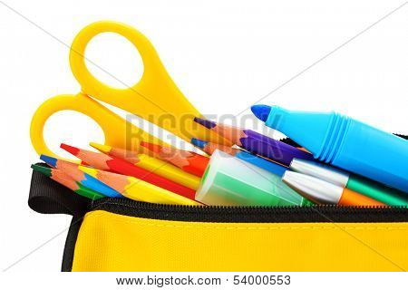 Yellow pencil box isolated on white background