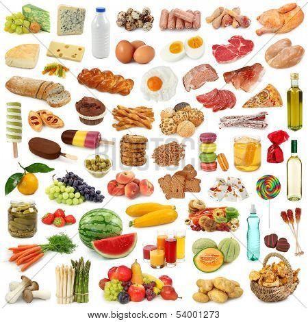 Coleta de alimentos isolada no fundo branco