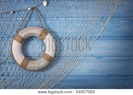 Life buoy decoration on blue shabby background