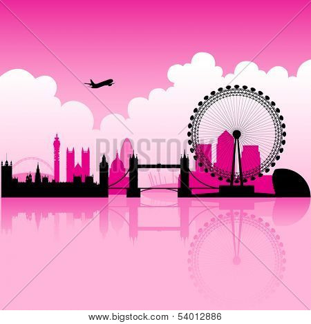 Illustration of London Magenta Skyline and a cloudy background