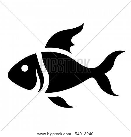 Illustration of Black Cartoon Fish Icon isolated on a white background