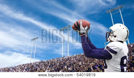 Football Player catching a Touchdown Pass