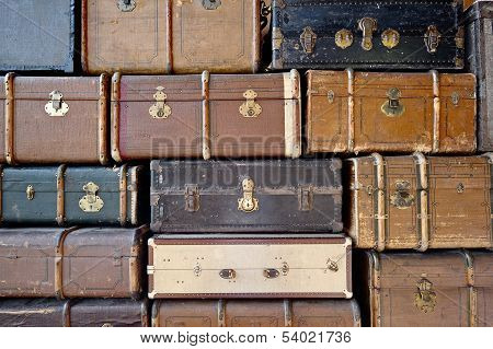 Old luggage. Can be used as background.