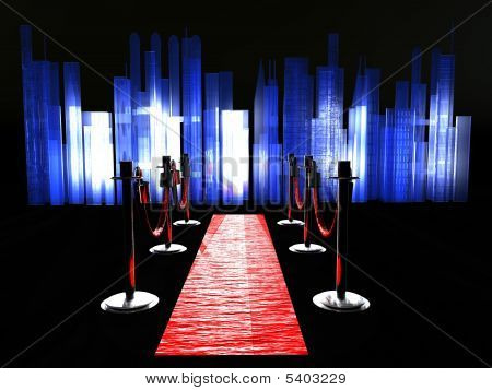 A red carpet with stanchions and spot lights. poster