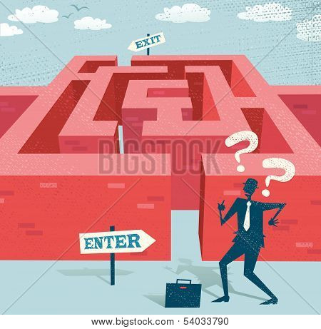 Abstract Businessman embarks on a difficult Maze journey.