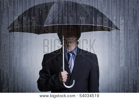 Businessman with an umbrella .