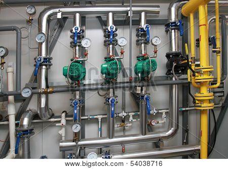 Modern Equipment In A Boiler-house