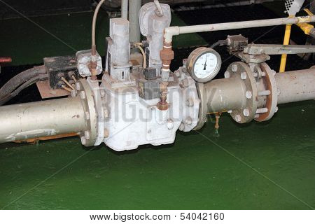 A gas train supplying an industrial duel fuel steam boiler