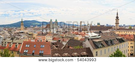 Linz, Panorama Of Old City, Austria