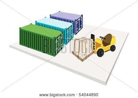 Forklift Truck Loading Shipping Box Into Container