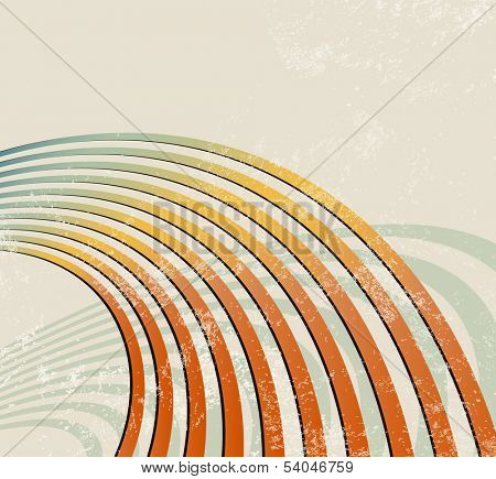 Retro lines - radio waves - abstract music background poster