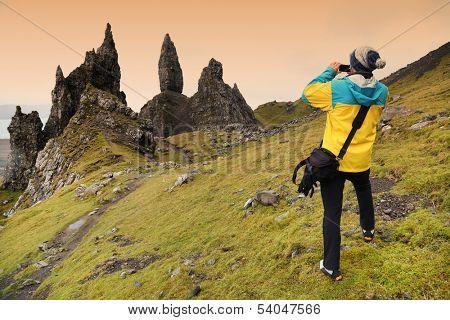 Trekking in Highlands of Scotland, Old Man of Storr
